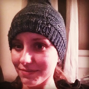 """My first attempt at knitting: the """"Barley Hat"""" pattern by Tin Can Knits, a pattern line they designed for beginners."""